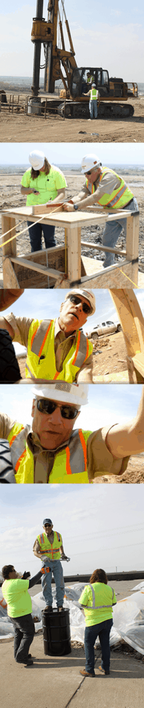Field experiment photo series shows; drilling, framing, starting the cameras, lowering into the gas extraction well, and celebrating the successful test.
