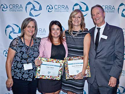 Pictured left to right are Julie Muir, former CRRA Board Member and current CRRA Advisor; honorees Leslie Lukacs and Tracie Onstad Bills of SCS,with John Dane, CRRA Executive Director.