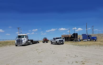 SCS professional staff, materials, and equipment arriving in Casper to begin construction on one of the largest landfill gas collection and control systems in Wyoming.