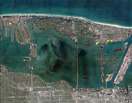 Miami Beach isn't sinking; the water around it is rising. If sea levels rise 2 feet over the next 25 years, 40% to 60% of the Florida city is projected to flood regularly. Yellow dots show locations most at risk.