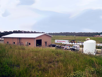 SCS designed the 3,200 square foot Control Building which houses the membrane system and controls, a lab, and an equipment storage room. RO reject storage tanks are on the right.