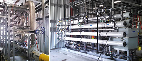Pictured at left the Ultrafiltration unit, part of an innovative membrane technology filtration system. Pictured at right the Reverse Osmosis System.